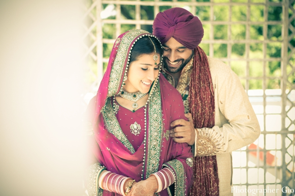 Indian wedding photography captures Indian bride and groom after their Sikh wedding.