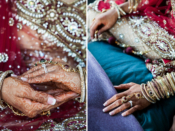 Bridal mehndi and Indian bridal jewelry displayed in this set from a professional Indian wedding photographer.