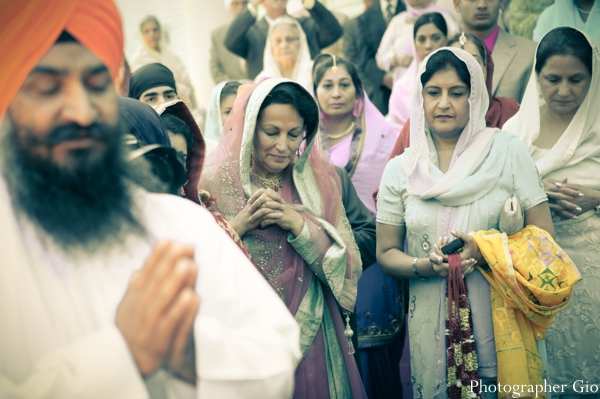 Friends and family at a Sikh indian wedding ceremony.