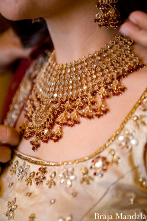 Indian bridal jewelry in a jewelry set with necklace.