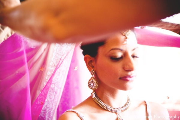 Indian bride pink makeup and bridal hair ideas.