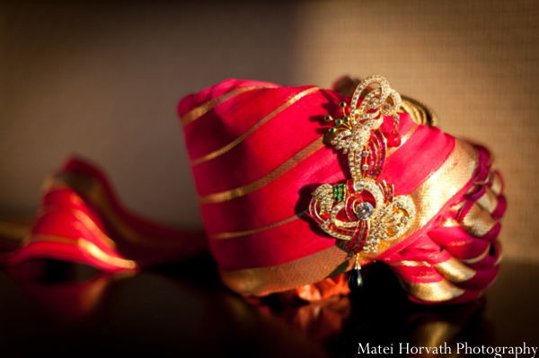 Close up of an Indian groom turban for traditional Indian wedding.