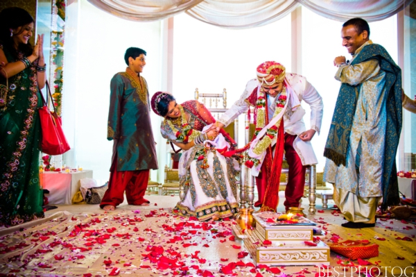 An Indian bride and groom at their Indian wedding ceremony.