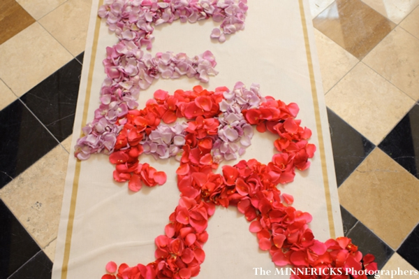 Indian wedding decor ideas in petal monograms.