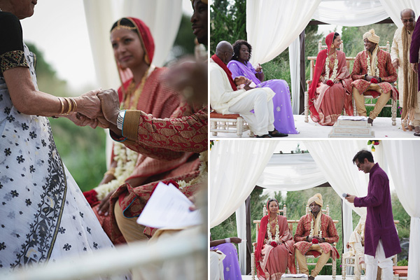 Family sits close by at this outdoor Indian wedding ceremony.