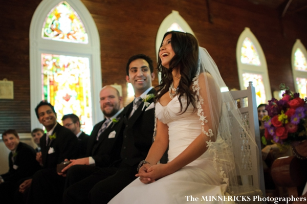 indian fusion wedding inside texas chapel.