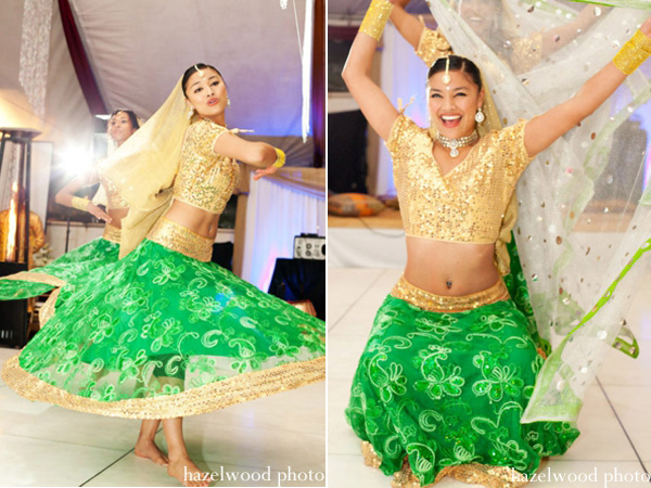 dancer performs in a lengha at a bridal mehndi party.