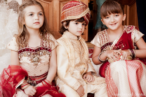 Indian wedding outfits for Indian flower girls and an Indian ringbearer.