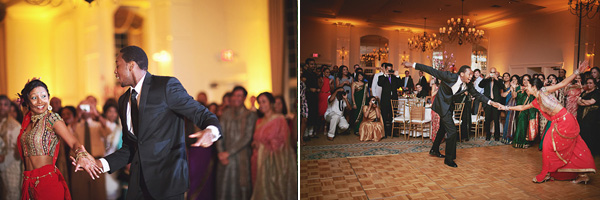 An Indian bride and groom have their first dance.