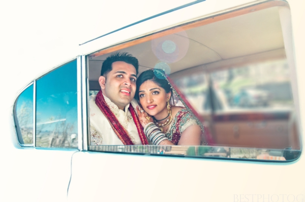 Indian wedding photographer captures a portrait of this indian bride and groom.