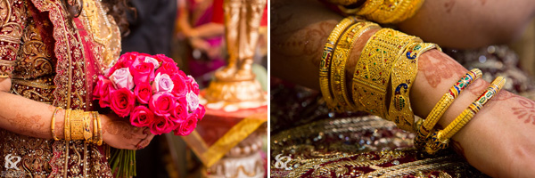 Indian bridal jewelry at this traditional Hindu wedding.