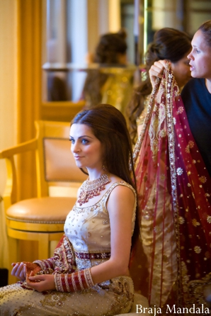 Indian bridal hair before the chuni completes her Indian wedding outfit.