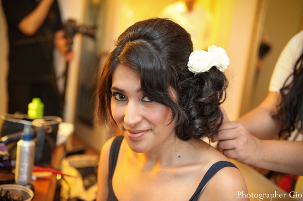 Indian bridal hair and makeup for an Indian wedding reception.