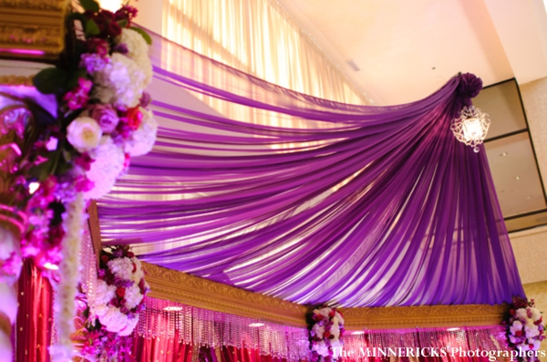 A modern fabric mandap at a hindu indian wedding reception.