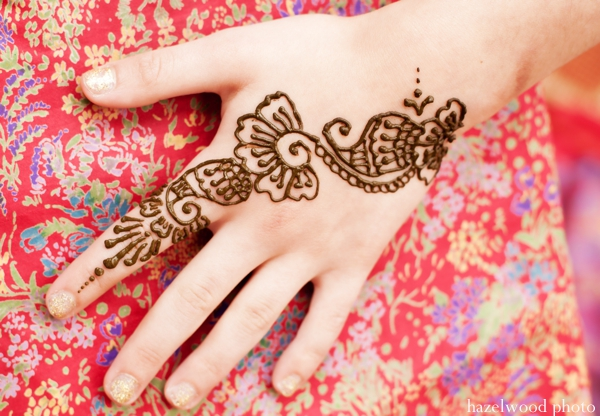 Bridal mehndi done at an pre Indian wedding ceremony.