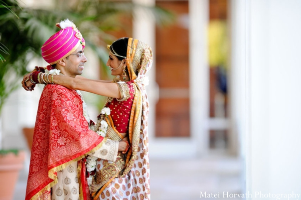 An Indian bride and groom after their Indian wedding ceremony.