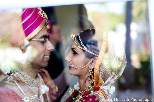 An Indian bride and groom at their Orange County Indian wedding venue.