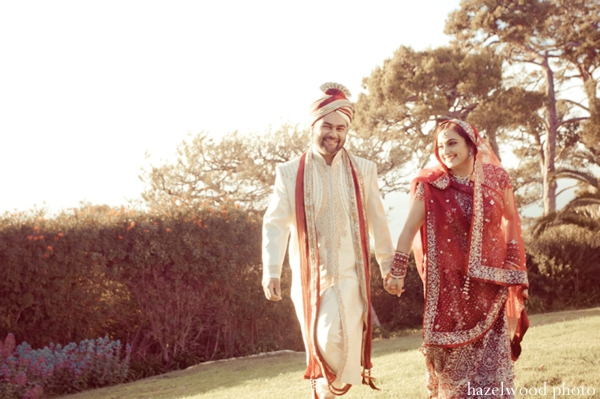 Indian wedding photography captures portrait of Indian bride and groom.