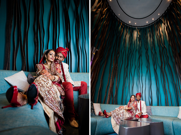 Artistic Indian wedding portraits of a modern Indian bride and groom.