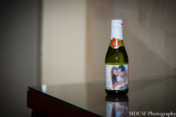 Custom bottle label at an Indian wedding reception.
