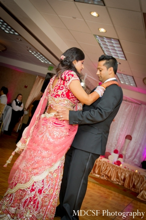 Indian wedding reception in pink theme.