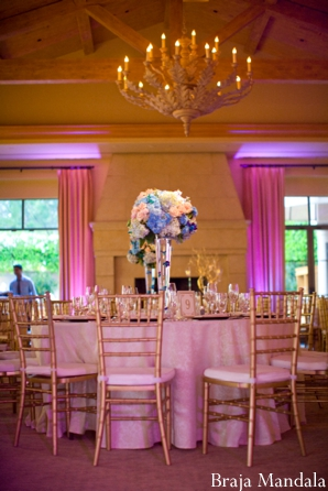 Indian wedding decoration ideas for a modern ballroom reception.