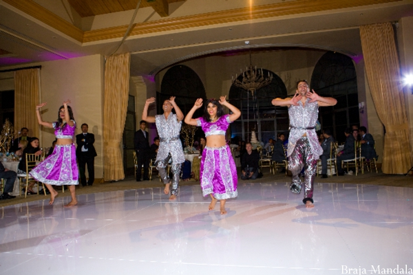 Bollywood dancers at an indian wedding reception.