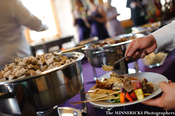 Professional indian wedding photography shows food buffet at indian wedding reception.
