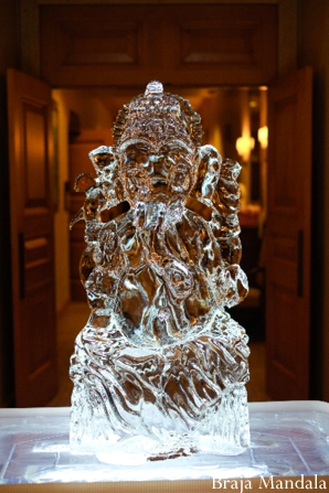 Indian wedding decor ideas of elephant ice sculpture.