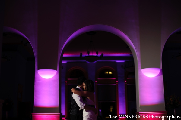 Indian bride and groom have their first dance at this fusion indian wedding.