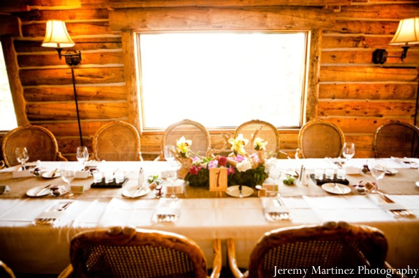 Indian wedding reception decor inside a Colorado cabin.