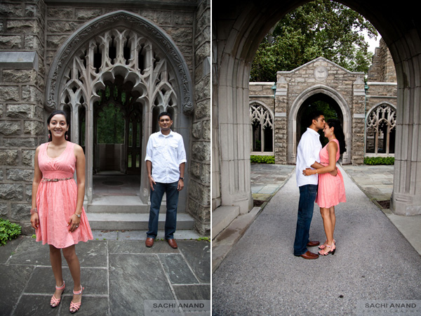 Indian bride and groom at outdoor engagement photo session.