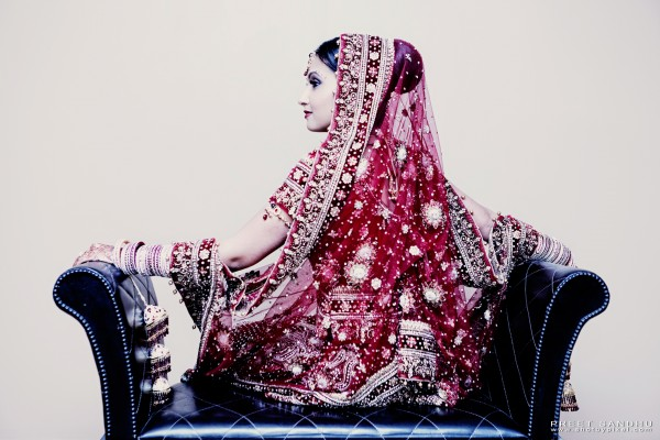 Indian bride in indian wedding lengha.