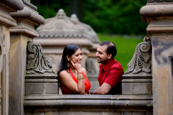 Indian wedding engagement shoot in park.