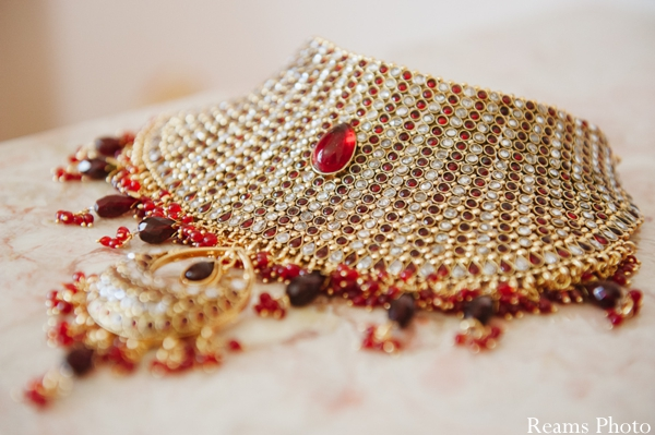 Indian wedding jewelry set with ruby necklace