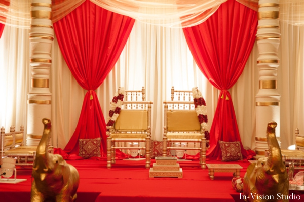 Indian wedding decor for hindu ceremony mandap.