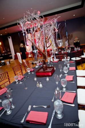 Indian wedding reception in black and red.