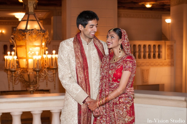 indian bride and groom portrait before hindu wedding.