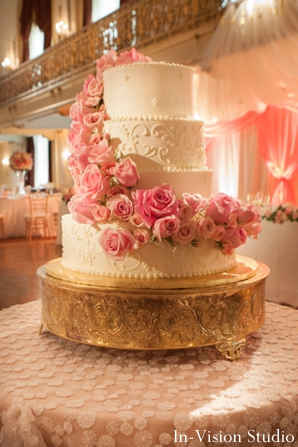 Indian wedding cake white with pink flowers