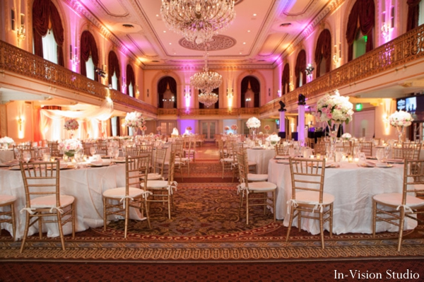 Indian wedding reception decor ideas in pink and white.