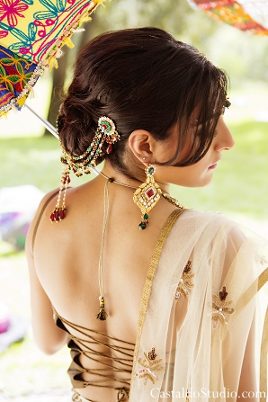 Indian bridal hair ideas with traditional indian wedding jewelry.