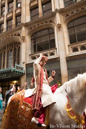Indian wedding begins with groom arriving in his baraat