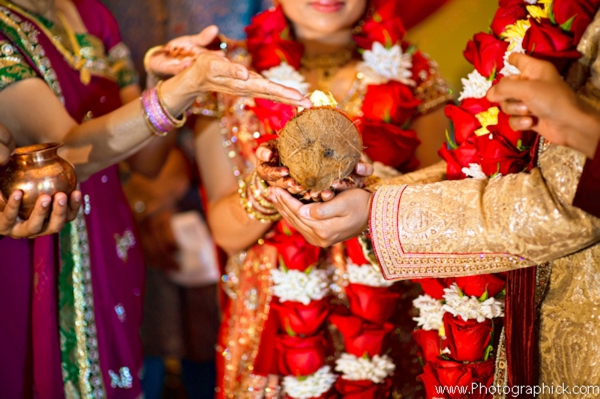 Indian wedding traditions during a Gujarati wedding ceremony.