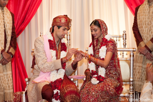 Indian bride and groom at a hindu wedding ceremony