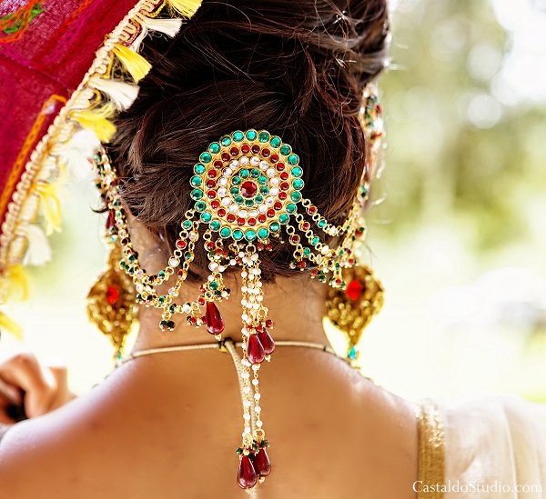 Indian wedding jewelry in indian bridal hair.