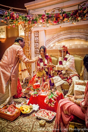 indian wedding ceremony with indian bride and groom.