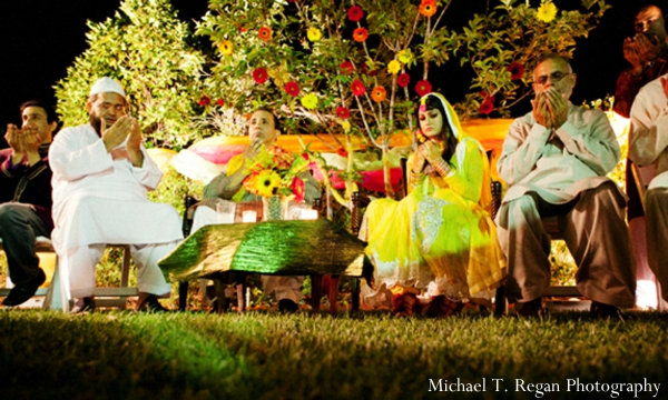 Pakistani wedding ceremony in garden.