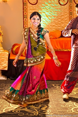 Indian bridal fashion at a garba Indian wedding.