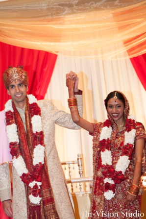 Indian bride and groom just married at indian wedding ceremony.