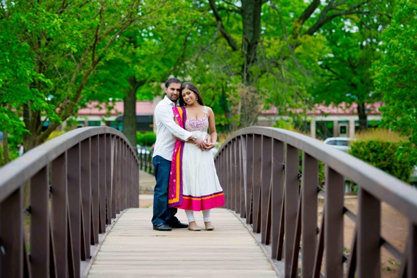Ideas for an Indian wedding engagement shoot in the park.